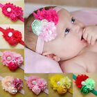 Kids Girl Baby Toddler 3 Flower Headband Pearl Elastic Hair Band Bow Accessories
