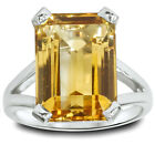 Large Emerald Citrine Solitaire Ring Sterling Silver
