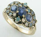 9ct Solid Gold Vintage Insp Sapphire & Opal Ring R26 Custom