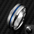 8mm Tungsten Men's Ring Blue Grooved Stripe Beveled Wedding Band - Engravable