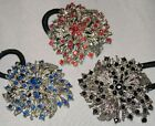 2 in 1 PONYTAIL HOLDER OR BROOCH CRYSTALS SELECT COLOR SHIPS FAST