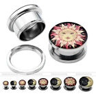 6G-5/8'' Gauges Sun Steel Tunnels Ear Stud Plug Punk Expander Stretcher Earrings