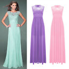 Women's Bridesmaid Chiffon Lace Long Gown Maxi Cocktail Evening Party Prom Dress