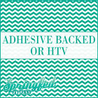 Turquoise & White Chevron Pattern #1 Adhesive Vinyl or HTV for Crafts Shirts