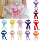 Colorful Bride Wedding Bouquet with Rhinestone Satin Ribbons Wedding Decorations