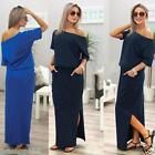 Womens Summer Short Sleeve Loose Long Maxi Dress Evening Party Dress With Pocket