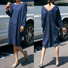 Women Oversize Casual Long Sleeve Back V-neck Loose Baggy Denim Blue Shirt Dress