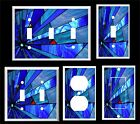ABSTRACT BLUE STAINED GLASS INSPIRED LIGHT SWITCH COVER PLATE      MADE IN USA