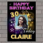 Personalised Gold & Purple Stars Happy Birthday Poster Banner N141 ANY AGE