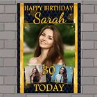 Personalised Black & Gold Diamonds Happy Birthday Poster Banner N144 ANY AGE