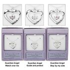 Equilibrium Silver Plated Necklace Guardian Angel Heart Pendant Sentiment 49785
