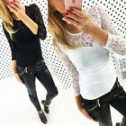 New Ladies Womens Lace T Shirt Floral Print Long Sleeve Blouse Casual Tops Tee