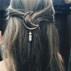 Women Vintage Alloy Moon Hair Clip Natural Stone Pendant Charms Clamp Hairpin