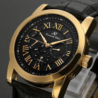 KS Luxury Men's Leather Date&Day Automatic Mechanical Sport Wrist Watch+Gift Box