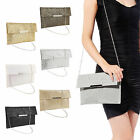 WOMENS SHINY BLING GLITTER BRIDAL PARTY EVENING PROM ENVELOPE CLUTCH BAG
