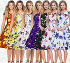 Women fashion multicolor printing dinner cocktail party floral dress beach dress