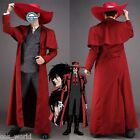 Anime Hellsing Ultimate Alucard Cosplay Costume Red Over Coat With Hat