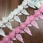 New Lace Trims DIY 3D Rose Flowers Trimmings Bride Dress Sewing Accessories 3 Yd