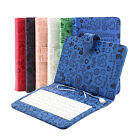 "Universal Cartoon 7"" Stand PU Leather Cover Micro USB Keyboard Case for Tablet"