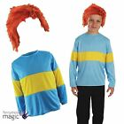 Childs Blue Yellow Striped Book Week Jumper Horrid Henry Fancy Dress Outfit Wig