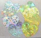 "20 Large Heart Cutouts 4"" x 4"" Holographic Patterne Gold and/or Silver Card NEW"