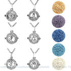 Openable Locket Essential Alloy Necklace Round Lava Rock Aromatherapy Pendant