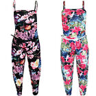 Girls Sleeveless Strappy Floral Flower Belted Baggy Loose All In One Jumpsuit