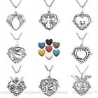 Openable Locket Essential Alloy Necklace Heart Lava Rock Aromatherapy Pendant