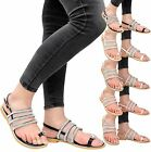 Ladies Womens Beach Flat Summer Gems Diamante Flip Flop Party Sandals Shoes Size