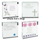 Personalised Holy communion Crusifix Crystal glass token Add message child baby