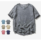 Mens summer Casual cotton linen breathable loose T-shirts short sleeve blouse