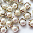New 20/100pcs Plastic Gold Beige Pearl Buttons 20mm Sewing Craft Back Hole T0859