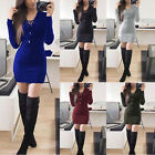 Womens Casual Knitted Long Sleeve V Neck Lace up Party Cocktail Mini Short Dress
