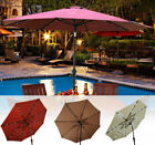 9ft Patio Solar Umbrella LED Outdoor Pool Parasol Garden Sun Shade Tilt w/ Crank