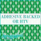 Kelly Green & White Arrows Pattern #1 Adhesive Vinyl or HTV for Crafts Shirts