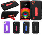 For LG X Power IMPACT Hybrid Hard Rubber Case Cover Kickstand + Screen Guard