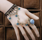 Vintage Women Retro Alloy & Lace Bangle Gothic Lady Chain Bracelet Ring Jewelry