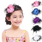 Hot New Girls Kids Lace Feather Bow Hair Clip Headdress Black Hat Shape AB