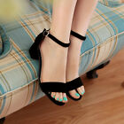Women's Fashion Casual Mid heels Ankle cuff strap Sandals peep toe shoes SIZE