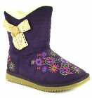 Childrens/Girls Imitation Suede Snug Boot With Plush Faux Fur Lining On Trend Em
