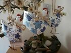 Gisela Graham White Tin Hen with Blue Flowers Easter decoration 8cm