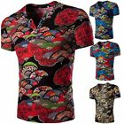 Stylish Men Casual Shirt Slim Summer Floral T-Shirt Short Sleeve V Neck Tee Top