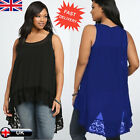 Plus Size Women's Chiffon Sleeveless Blouse Ladies Loose Casual Vest Tank Tops
