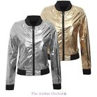 Brave Soul Womens Ladies Reversible Metallic Satin Bomber Coat Jacket