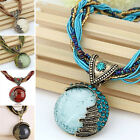 Retro Jewelry Gem Crystal Multilayer Beads Chain Handmade Bohemia Style Necklace