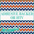 Orange & Navy Blue Chevron Stripes Pattern #5 Adhesive Vinyl or HTV for Crafts