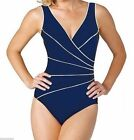Miraclesuit Kirklnd Womens One-Piece Horizon Piped Swimsuit Marine Blue Slimming