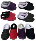 WOMENS WARM FELT MOCCASINS SLIPPERS MULES PURPLE,NAVY,RED,GREY SIZES 3-8