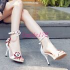 Fashion Womens Grace Ankle Strap Sandals Flowers Patent Leather Dress Shoes Size