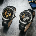 Fashion Men's Black Leather Band Dial Stainless Steel Auto Mechanical Watch
